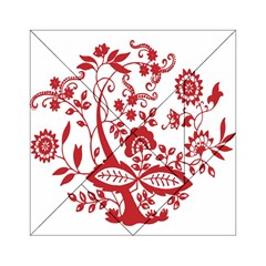 Red Vintage Floral Flowers Decorative Pattern Clipart Acrylic Tangram Puzzle (6  x 6 )