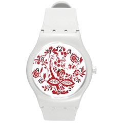 Red Vintage Floral Flowers Decorative Pattern Clipart Round Plastic Sport Watch (M)