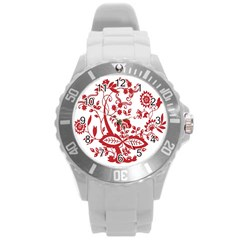 Red Vintage Floral Flowers Decorative Pattern Clipart Round Plastic Sport Watch (l)