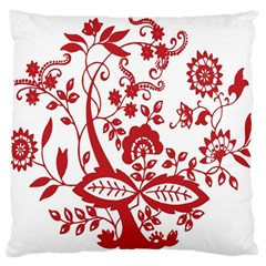 Red Vintage Floral Flowers Decorative Pattern Clipart Large Cushion Case (Two Sides)