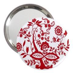 Red Vintage Floral Flowers Decorative Pattern Clipart 3  Handbag Mirrors