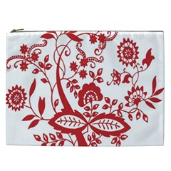 Red Vintage Floral Flowers Decorative Pattern Clipart Cosmetic Bag (XXL)