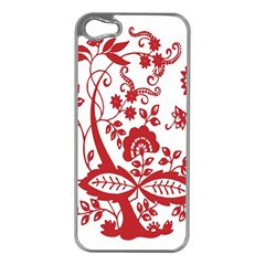 Red Vintage Floral Flowers Decorative Pattern Clipart Apple iPhone 5 Case (Silver)