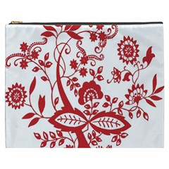 Red Vintage Floral Flowers Decorative Pattern Clipart Cosmetic Bag (XXXL)