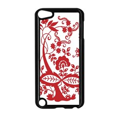 Red Vintage Floral Flowers Decorative Pattern Clipart Apple iPod Touch 5 Case (Black)