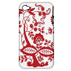 Red Vintage Floral Flowers Decorative Pattern Clipart Apple Iphone 4/4s Hardshell Case (pc+silicone)
