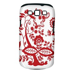 Red Vintage Floral Flowers Decorative Pattern Clipart Samsung Galaxy S III Classic Hardshell Case (PC+Silicone)