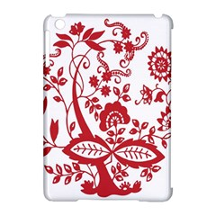 Red Vintage Floral Flowers Decorative Pattern Clipart Apple iPad Mini Hardshell Case (Compatible with Smart Cover)