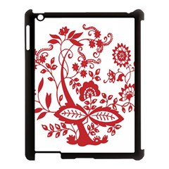 Red Vintage Floral Flowers Decorative Pattern Clipart Apple iPad 3/4 Case (Black)