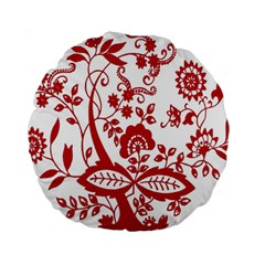 Red Vintage Floral Flowers Decorative Pattern Clipart Standard 15  Premium Round Cushions