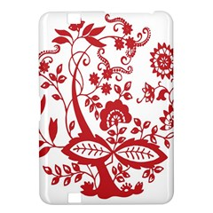 Red Vintage Floral Flowers Decorative Pattern Clipart Kindle Fire HD 8.9