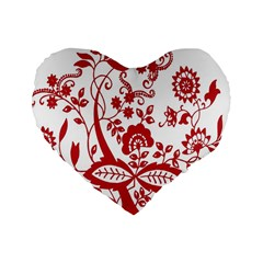Red Vintage Floral Flowers Decorative Pattern Clipart Standard 16  Premium Heart Shape Cushions