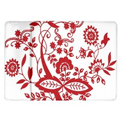 Red Vintage Floral Flowers Decorative Pattern Clipart Samsung Galaxy Tab 10.1  P7500 Flip Case