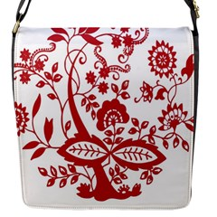 Red Vintage Floral Flowers Decorative Pattern Clipart Flap Messenger Bag (s)