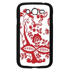Red Vintage Floral Flowers Decorative Pattern Clipart Samsung Galaxy Grand DUOS I9082 Case (Black)