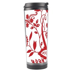 Red Vintage Floral Flowers Decorative Pattern Clipart Travel Tumbler