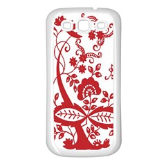 Red Vintage Floral Flowers Decorative Pattern Clipart Samsung Galaxy S3 Back Case (White)
