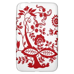 Red Vintage Floral Flowers Decorative Pattern Clipart Samsung Galaxy Tab 3 (8 ) T3100 Hardshell Case