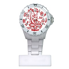 Red Vintage Floral Flowers Decorative Pattern Clipart Plastic Nurses Watch