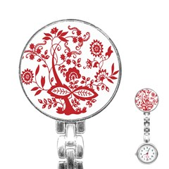 Red Vintage Floral Flowers Decorative Pattern Clipart Stainless Steel Nurses Watch