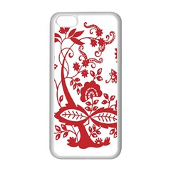 Red Vintage Floral Flowers Decorative Pattern Clipart Apple Iphone 5c Seamless Case (white)