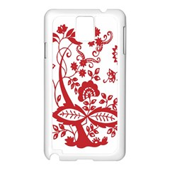 Red Vintage Floral Flowers Decorative Pattern Clipart Samsung Galaxy Note 3 N9005 Case (White)
