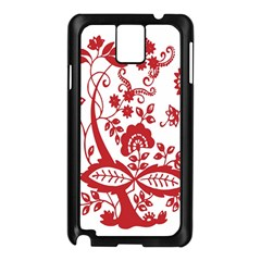 Red Vintage Floral Flowers Decorative Pattern Clipart Samsung Galaxy Note 3 N9005 Case (Black)