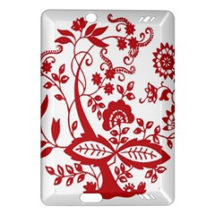 Red Vintage Floral Flowers Decorative Pattern Clipart Amazon Kindle Fire HD (2013) Hardshell Case