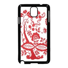 Red Vintage Floral Flowers Decorative Pattern Clipart Samsung Galaxy Note 3 Neo Hardshell Case (Black)