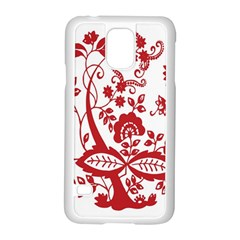 Red Vintage Floral Flowers Decorative Pattern Clipart Samsung Galaxy S5 Case (White)