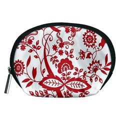 Red Vintage Floral Flowers Decorative Pattern Clipart Accessory Pouches (medium)