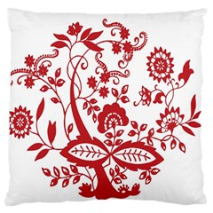 Red Vintage Floral Flowers Decorative Pattern Clipart Large Flano Cushion Case (Two Sides)