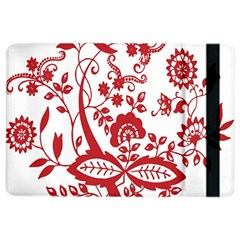 Red Vintage Floral Flowers Decorative Pattern Clipart iPad Air 2 Flip