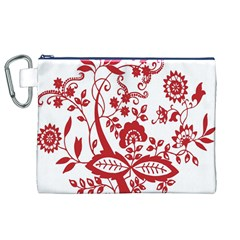 Red Vintage Floral Flowers Decorative Pattern Clipart Canvas Cosmetic Bag (XL)