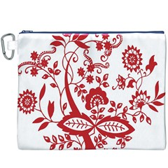 Red Vintage Floral Flowers Decorative Pattern Clipart Canvas Cosmetic Bag (XXXL)