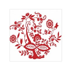 Red Vintage Floral Flowers Decorative Pattern Clipart Small Satin Scarf (square)