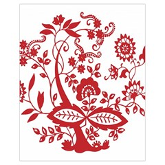 Red Vintage Floral Flowers Decorative Pattern Clipart Drawstring Bag (small)