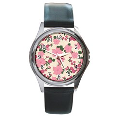 Vintage Floral Wallpaper Background In Shades Of Pink Round Metal Watch