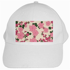 Vintage Floral Wallpaper Background In Shades Of Pink White Cap