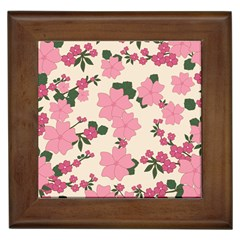 Vintage Floral Wallpaper Background In Shades Of Pink Framed Tiles