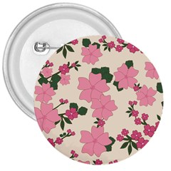 Vintage Floral Wallpaper Background In Shades Of Pink 3  Buttons