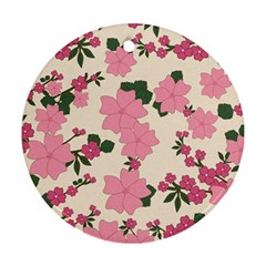 Vintage Floral Wallpaper Background In Shades Of Pink Ornament (round)