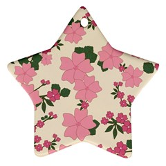 Vintage Floral Wallpaper Background In Shades Of Pink Ornament (Star)