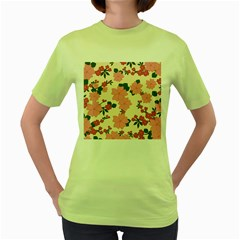Vintage Floral Wallpaper Background In Shades Of Pink Women s Green T-Shirt