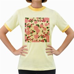 Vintage Floral Wallpaper Background In Shades Of Pink Women s Fitted Ringer T Shirts