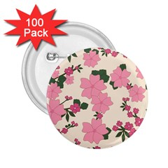 Vintage Floral Wallpaper Background In Shades Of Pink 2.25  Buttons (100 pack)
