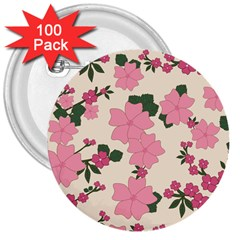 Vintage Floral Wallpaper Background In Shades Of Pink 3  Buttons (100 Pack)