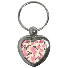 Vintage Floral Wallpaper Background In Shades Of Pink Key Chains (Heart)