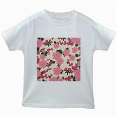 Vintage Floral Wallpaper Background In Shades Of Pink Kids White T-Shirts