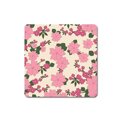 Vintage Floral Wallpaper Background In Shades Of Pink Square Magnet